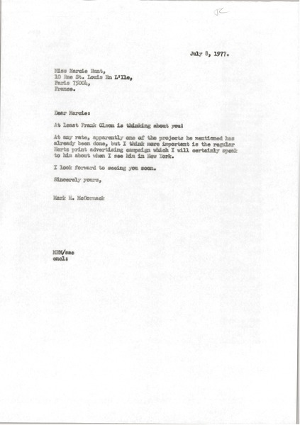 Letter from Mark H. McCormack to Marcie Hunt, July 8, 1977