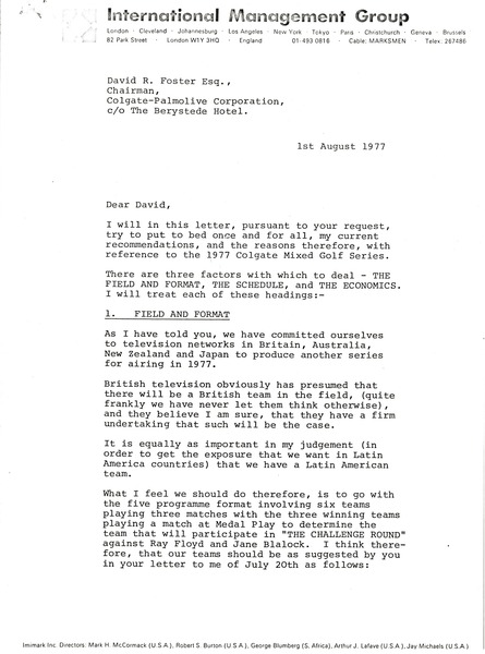 Letter from Mark H. McCormack to David R. Foster, August 1, 1977