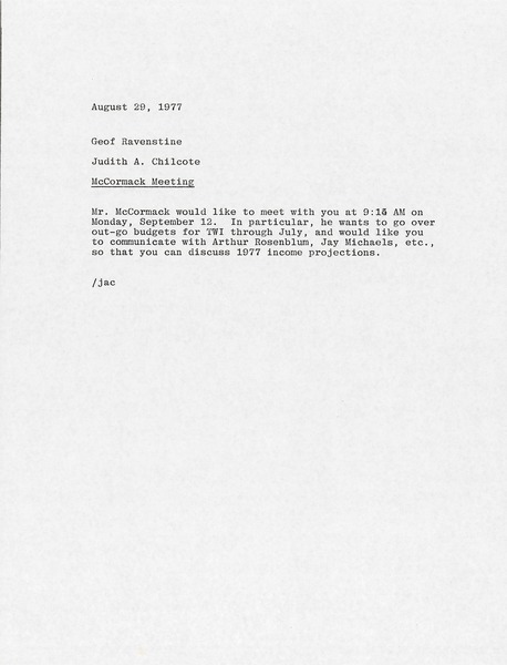 Memorandum from Judy A. Chilcote to Geof Ravenstine, August 29, 1977