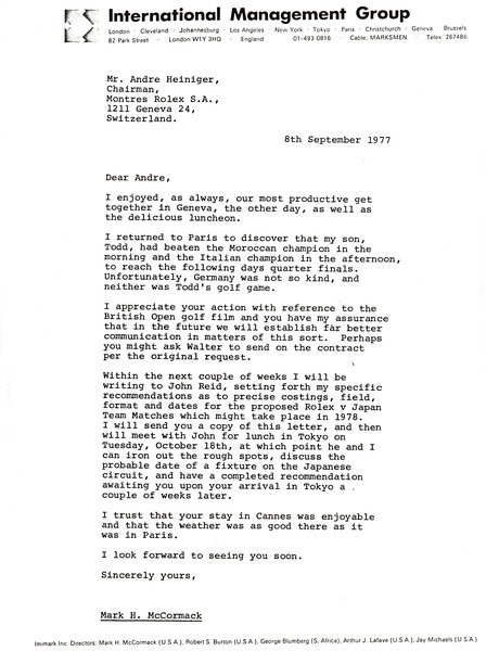Letter from Mark H. McCormack to Andre Heiniger, September 8, 1977