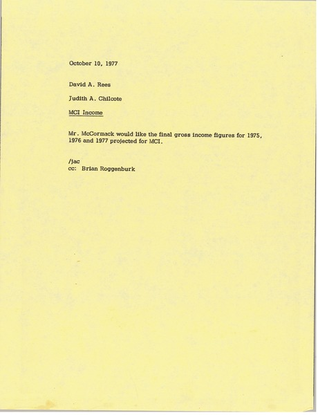 Memorandum from Judy A. Chilcote to David A. Rees, October 10, 1977