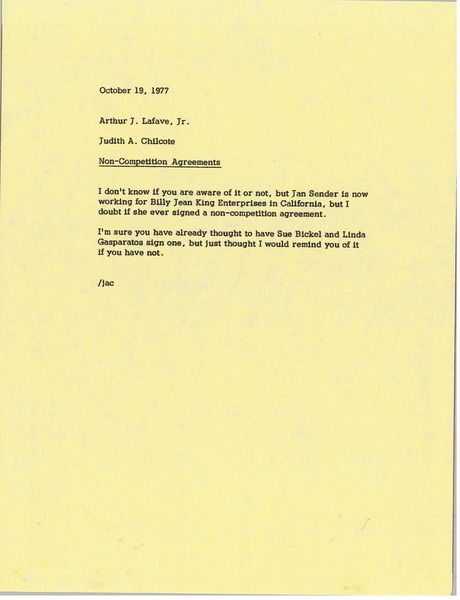 Memorandum from Judy A. Chilcote to Arthur J. Lafave, October 19, 1977