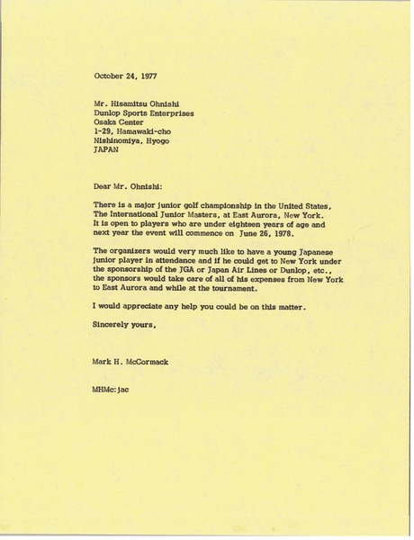 Letter from Mark H. McCormack to Hisamitsu Ohnishi, October 24, 1977