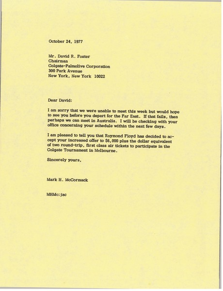 Letter from Mark H. McCormack to David R. Foster, October 24, 1977