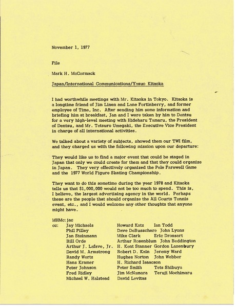 Memorandum from Mark H. McCormack to Japan International Communications Yasuo             Kitaoka file, November 1, 1977