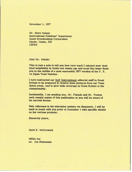 Letter from Mark H. McCormack to Shiro Nakajo, November 1, 1977