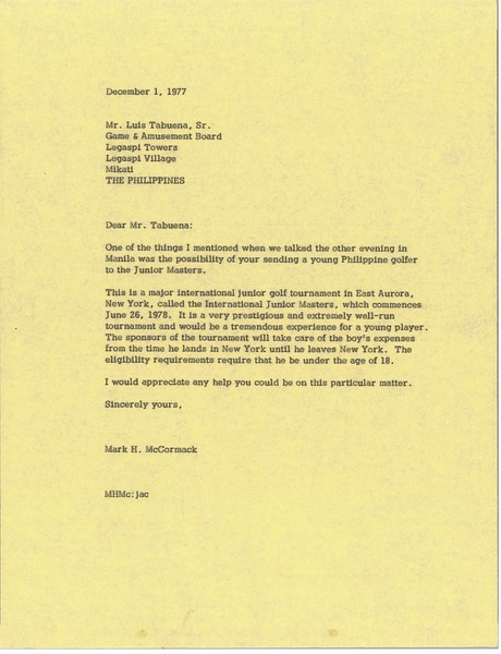 Letter from Mark H. McCormack to Luis Tabuena, December 1, 1977