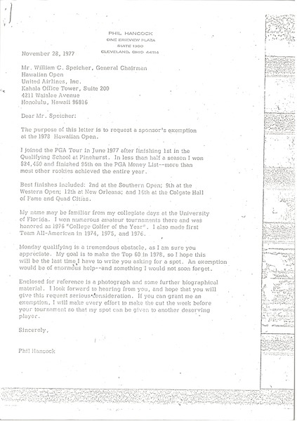 Letter from Phil Hancock to William C. Speicher, November 28, 1977