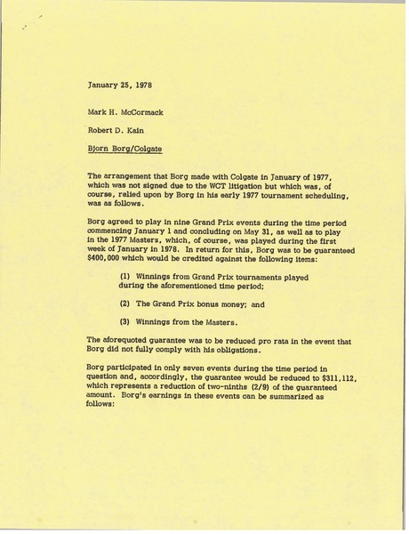 Memorandum from Robert D. Kain to Mark H. McCormack, January 25, 1978