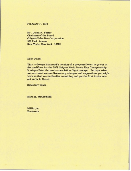 Letter from Mark H. McCormack to David R. Foster, February 7, 1978