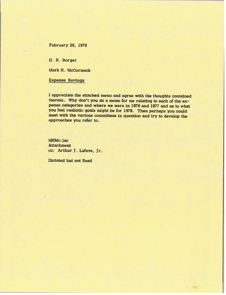 Memorandum from Mark H. McCormack to H. R. Borger, February 28, 1978