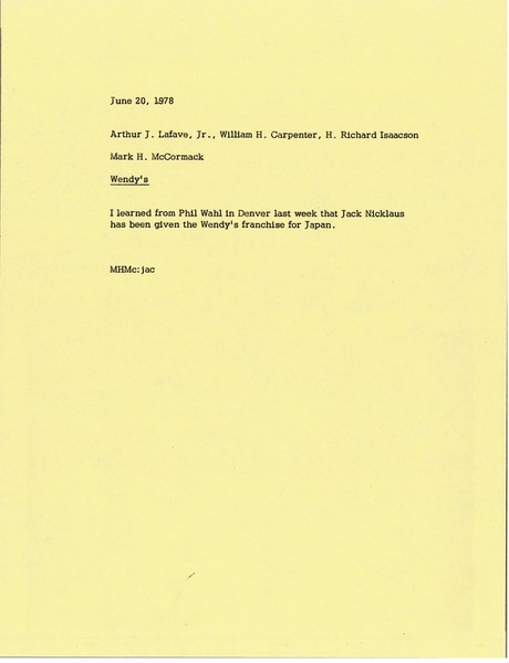 Letter from Mark H. McCormack to Arthur J. Lafave, William H. Carpenter, and H. Richard Isaacson., June 20, 1978