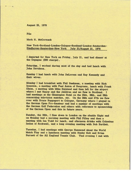 Memorandum from Mark H. McCormack to travel file, August 25, 1978