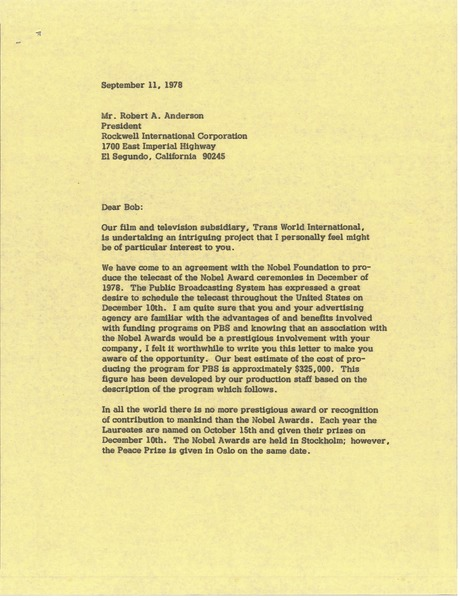 Letter from Mark H. McCormack to Robert A. Anderson, September 11, 1978