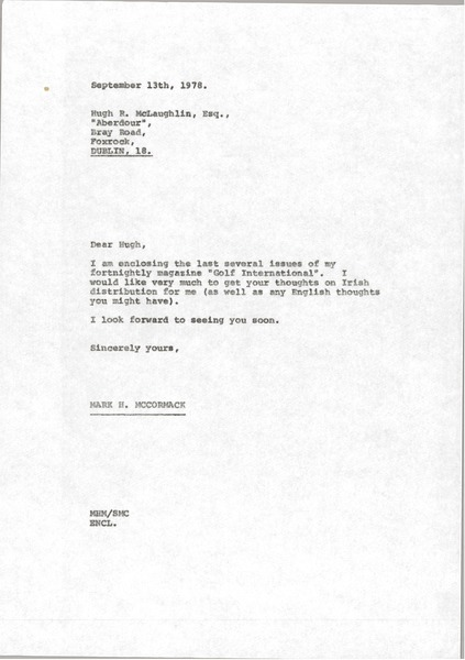 Letter from Mark H. McCormack to Hugh R. McLaughlin, September 13, 1978