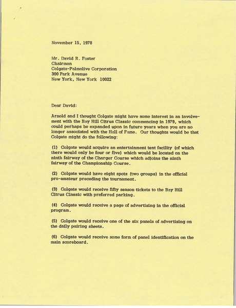 Letter from Mark H. McCormack to David R. Foster, November 15, 1978