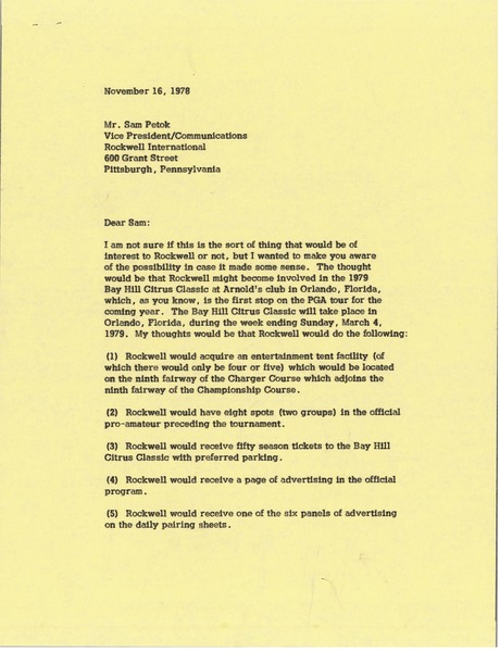 Letter from Mark H. McCormack to Sam Petok, November 16, 1978