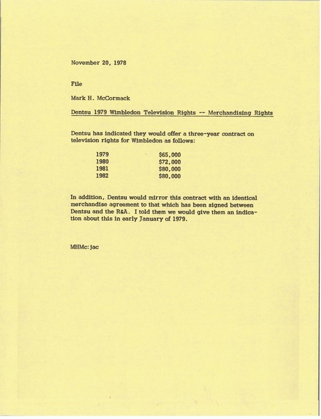 Memorandum from Mark H. McCormack to file, November 20, 1978