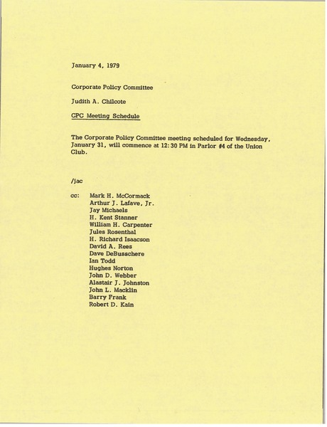 Memorandum from Judy A. Chilcote to corporate policy committee, January 4, 1979