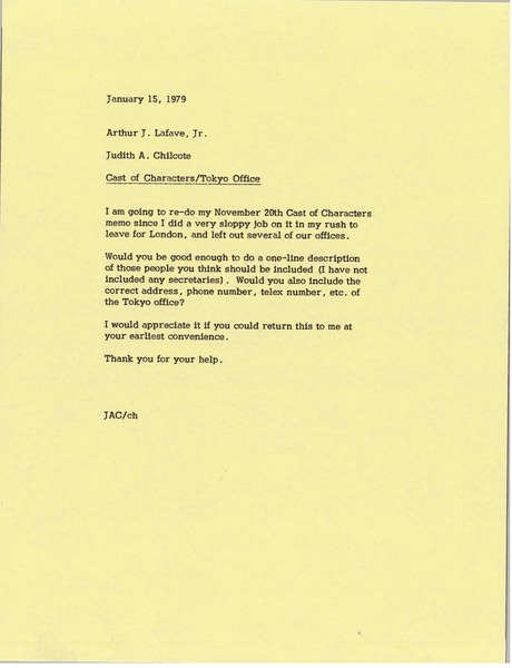 Memorandum from Judy A. Chilcote to Arthur J. Lafave, January 15, 1979