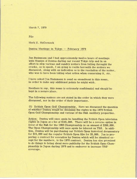 Memorandum from Mark H. McCormack to file, March 7, 1979