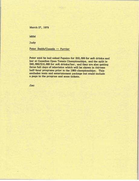 Memorandum from Judy A. Chilcote to Mark H. McCormack, March 27, 1979