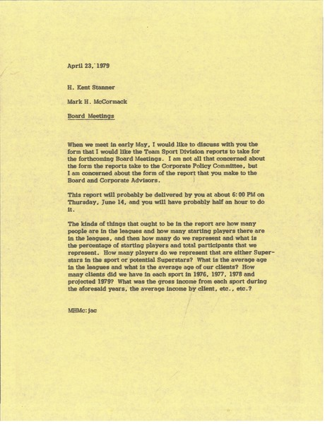 Memorandum from Mark H. McCormack to H. Kent Stanner, April 23, 1979
