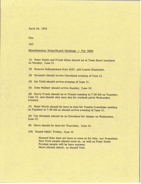 Memorandum from Judith A. Chilcote to file, April 24, 1979