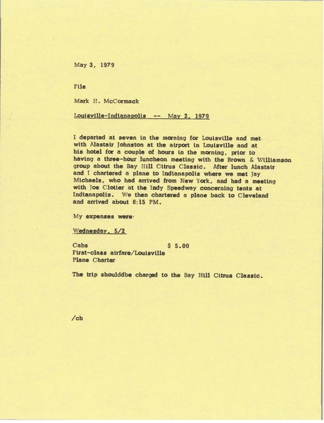 Memorandum from Mark H. McCormack to file, May 3, 1979
