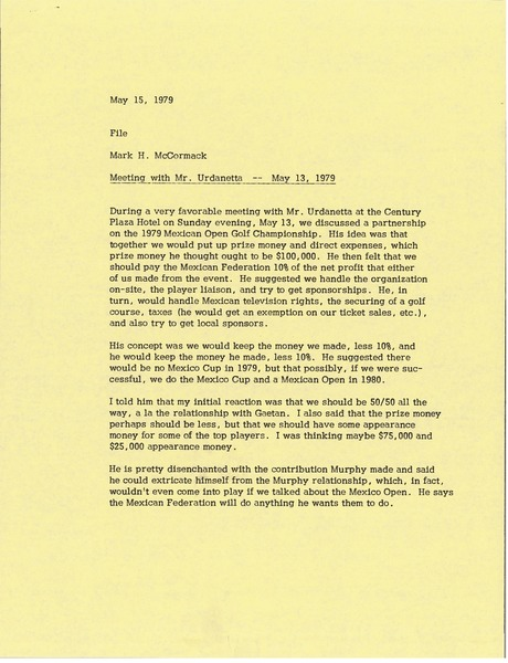 Memorandum from Mark H. McCormack to file, May 15, 1979