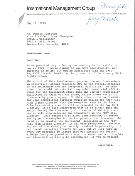 Letter from Mark H. McCormack to Donald S. Johnston, May 15, 1979