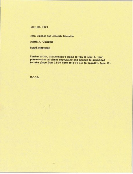 Memorandum from Judy A. Chilcote to Alastair J. Johston and John Webber, May 30, 1979