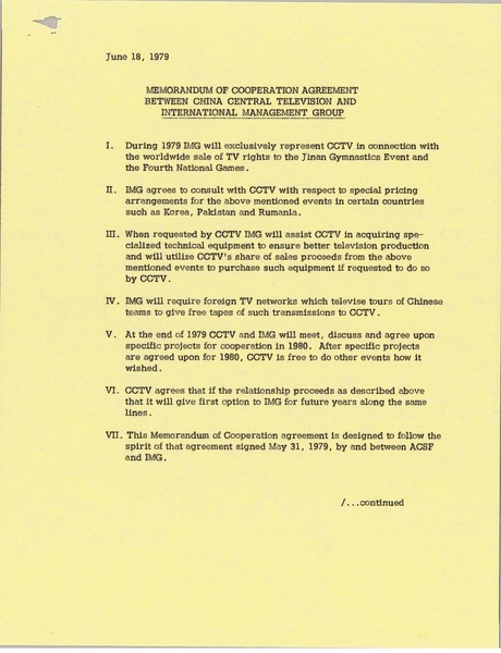 Memorandum of cooperation agreement between China Central Television and International Management Group, June 18, 1979