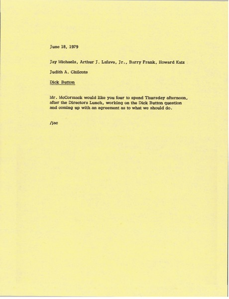 Memorandum from Judy A. Chilcote to Jay Michaels, Arthur J. Lafave, Barry Frank and Howard Katz, June 18, 1979