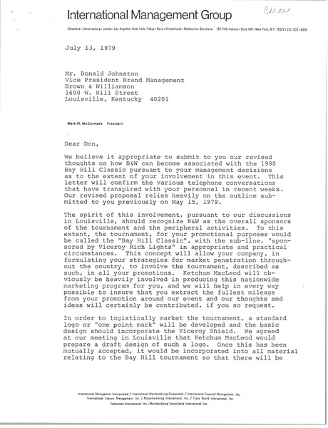 Letter from Mark H. McCormack to Donald Johnston, July 13, 1979