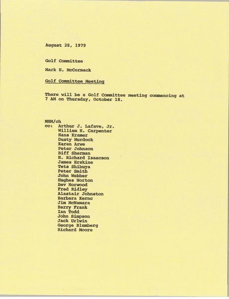 Memorandum from Mark H. McCormack to golf committee, August 28, 1979