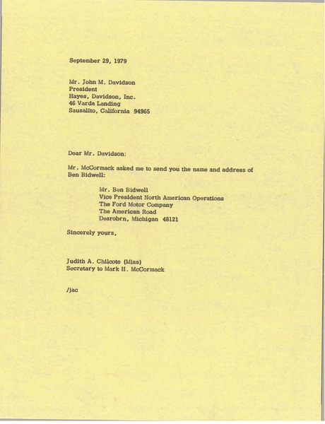 Letter from Judith A. Chilcote to John M. Davidson, September 29, 1979