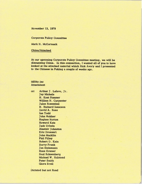 Memorandum from Mark H. McCormack to the Corporate Policy Committee, November 13, 1979