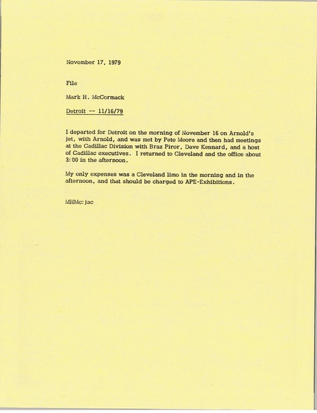 Memorandum from Mark H. McCormack concerning his trip to Detroit on November 11, 1979, November 17, 1979