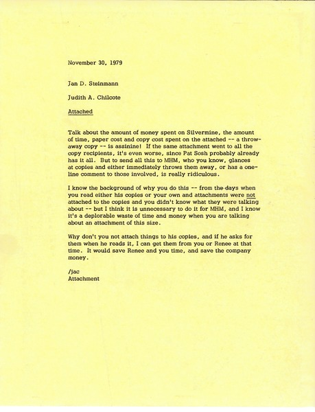 Memorandum from Judy A. Chilcote to Jan D. Steinmann, November 30, 1979