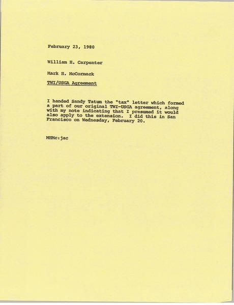 Memorandum from Mark H. McCormack to William H. Carpenter, February 23, 1980