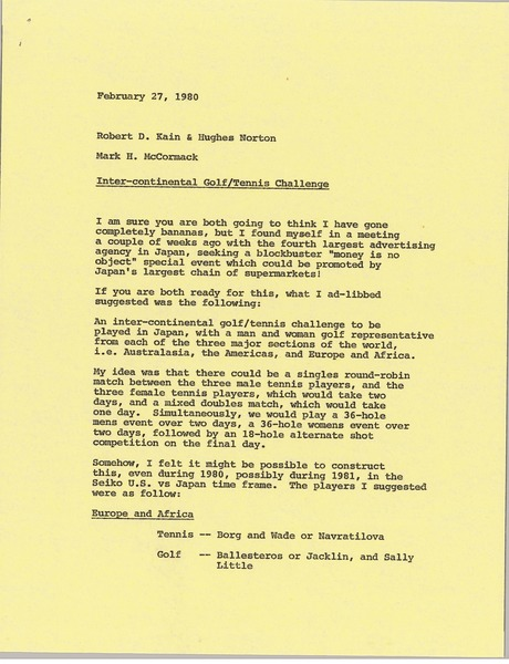 Memorandum from Mark H. McCormack to Robert D. Kain and Hughes Norton, February 27, 1980