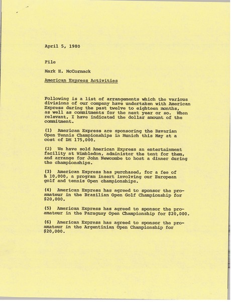Memorandum from Mark H. McCormack to file, April 5, 1980