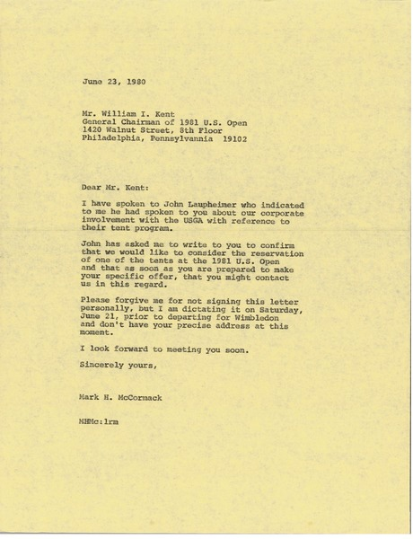 Letter from Mark H. McCormack to William I. Kent, June 23, 1980