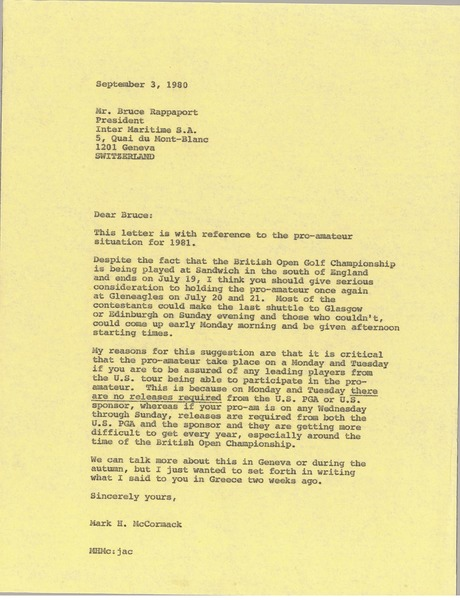 Letter from Mark H. McCormack to Bruce Rappaport, September 3, 1980