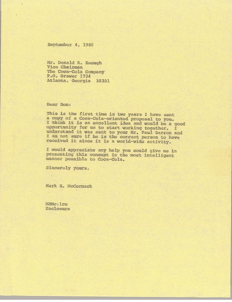 Letter from Mark H. McCormack to Donald R. Keough, September 4, 1980