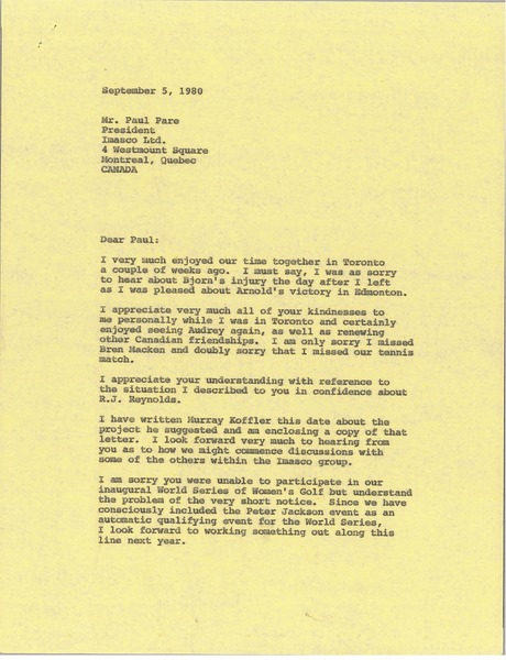 Letter from Mark H. McCormack to Paul Pare, September 5, 1980