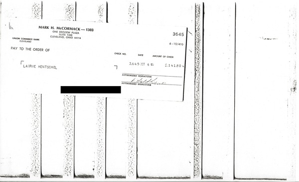 Check from Mark H. McCormack to Laurie Hentschel, October 6, 1980