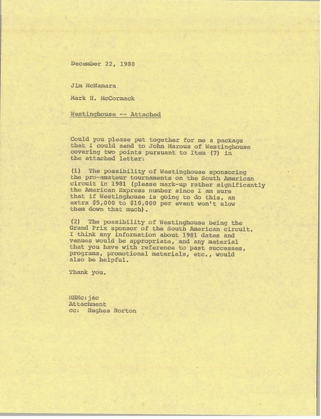 Memorandum from Mark H. McCormack to Jim McNamara, December 22, 1980