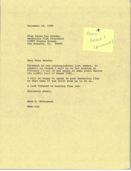 Letter from Mark H. McCormack to Diana Lee Brooks, December 23, 1980